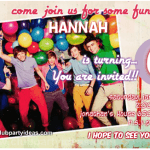 One Direction birthday invitations free