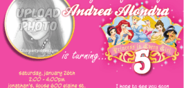 Disney Princess birthday Invitations with photo