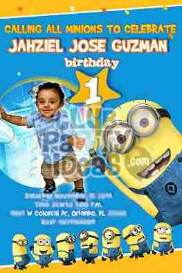 Minions Despicable Me invitations personalized invitations with photo