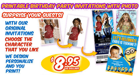 Printable birthday party invitations with photo custom